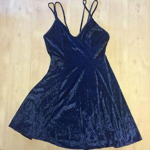 Petra Fashions USA Velvet Blue mini skater dress